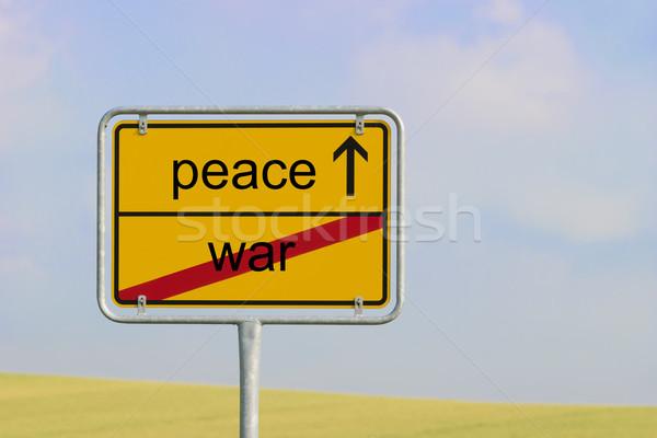 Segno guerra pace giallo città testo Foto d'archivio © w20er