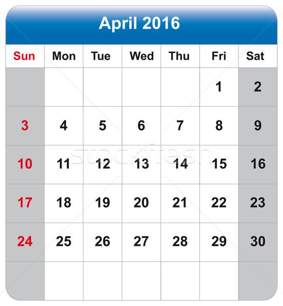 Calendar sheet April 2016 Stock photo © w20er