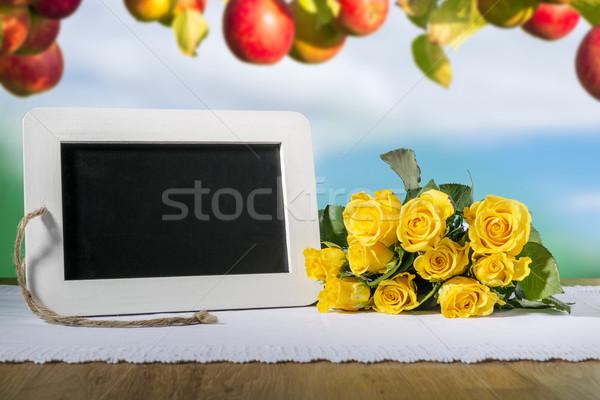 slate blackboard heart and roses Stock photo © w20er