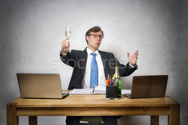 Business man with champagne glass Stock photo © w20er