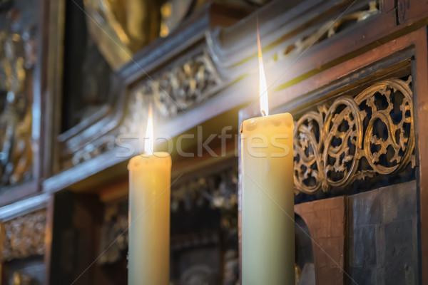 Kaarsen kerk afbeelding twee brandend brand Stockfoto © w20er