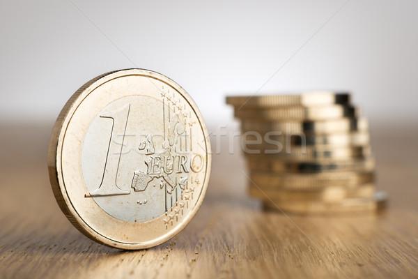Euro Coins on table Stock photo © w20er