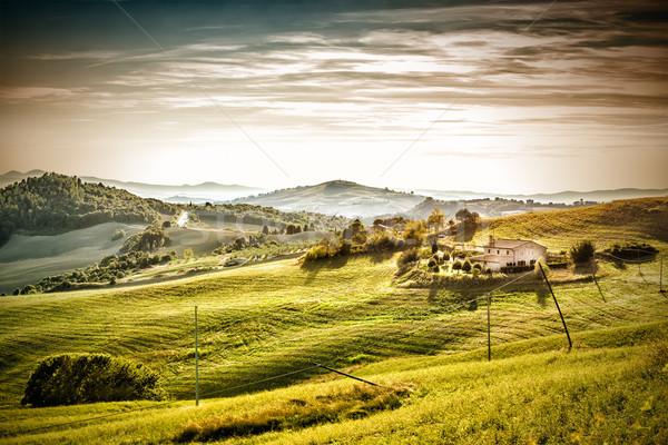 вечер настроение пейзаж Тоскана Италия весны Сток-фото © w20er