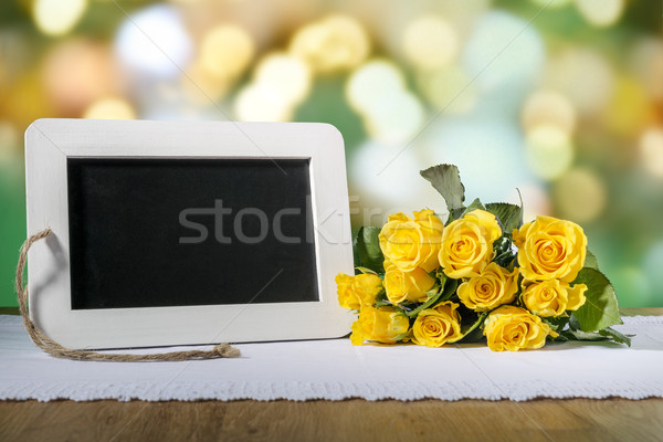 blank slate blackboard and roses Stock photo © w20er