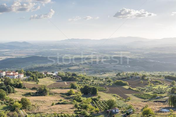 Puesta de sol paisaje Toscana imagen Italia otono Foto stock © w20er