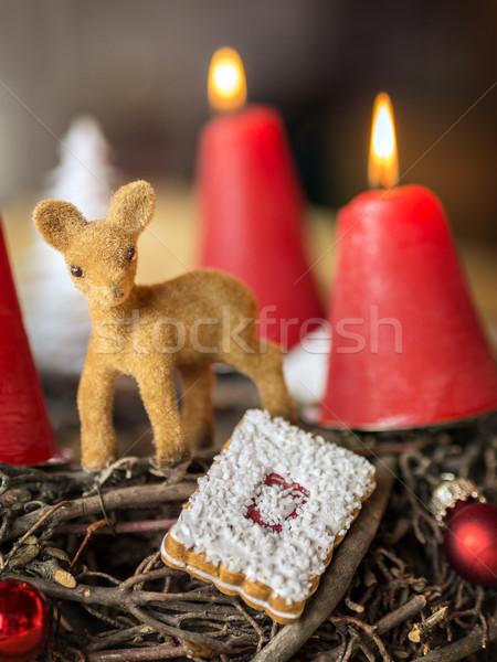 Brandend Rood kaars detail shot Stockfoto © w20er
