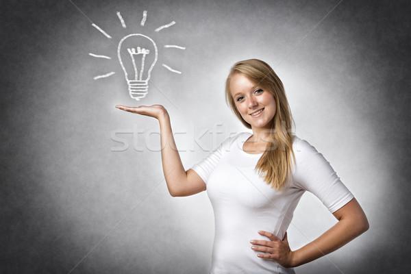 Yaratıcı kadın ampul görüntü sarışın resimli Stok fotoğraf © w20er