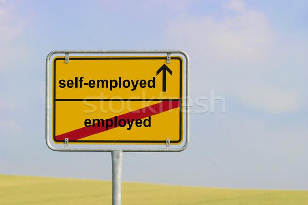 Felirat foglalkoztatott citromsárga város szöveg égbolt Stock fotó © w20er
