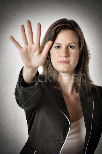 ビジネス女性 手 停止 黒服 右 アップ ストックフォト © w20er