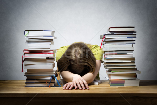 Overworked female student Stock photo © w20er