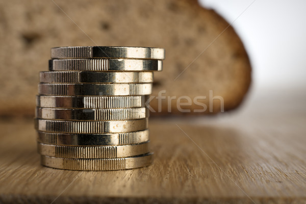 Euro coins with bread Stock photo © w20er
