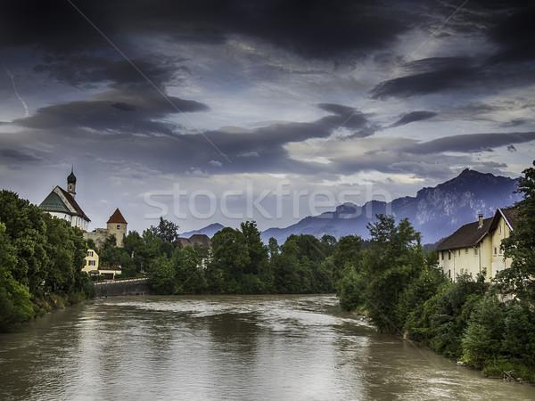 Folyó történelmi templom Alpok kép Németország Stock fotó © w20er