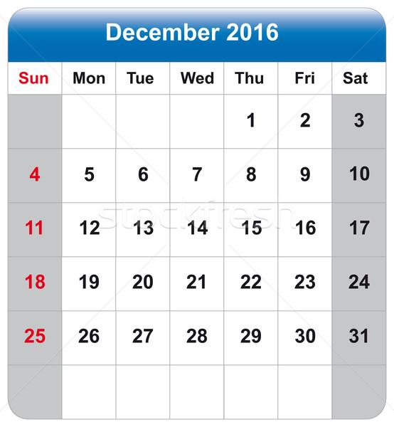 Calendar sheet December 2016 Stock photo © w20er