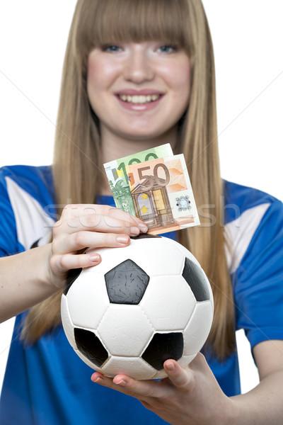 Girls football money box Stock photo © w20er