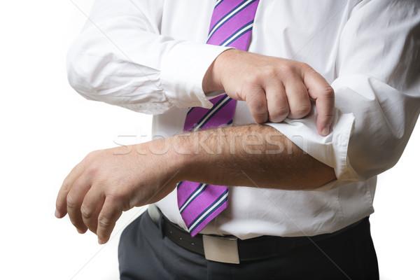 Człowiek biznesu w górę garnitur biały shirt Zdjęcia stock © w20er