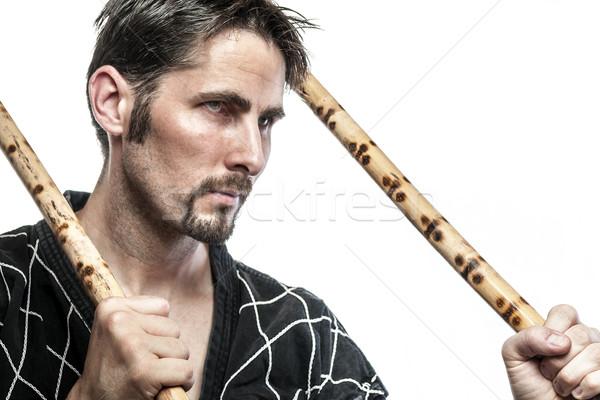 Arts martiaux maître bambou noir robe Photo stock © w20er