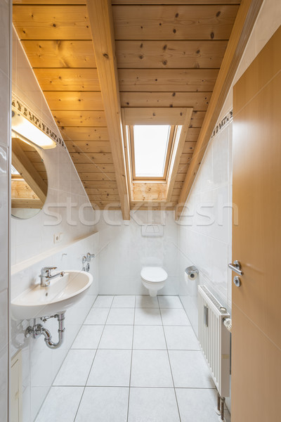 Blanche carrelage toilettes photos toilettes miroir Photo stock © w20er