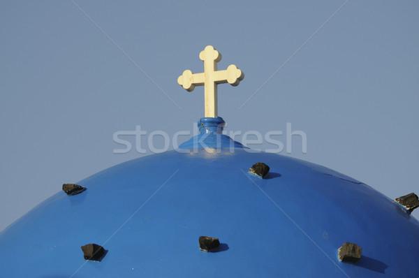 Santorini cúpula cruz azul iglesia cielo Foto stock © w20er