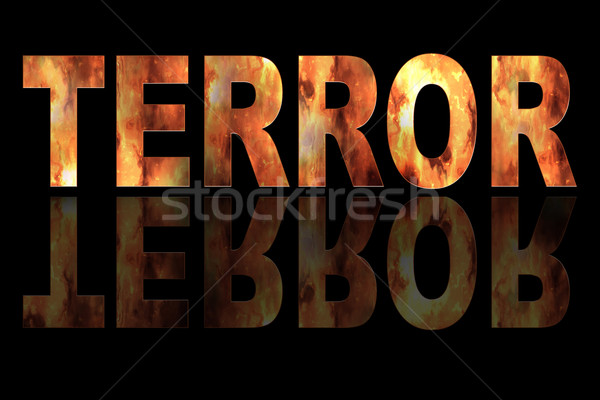 Illustration TERROR with fire on black Stock photo © w20er