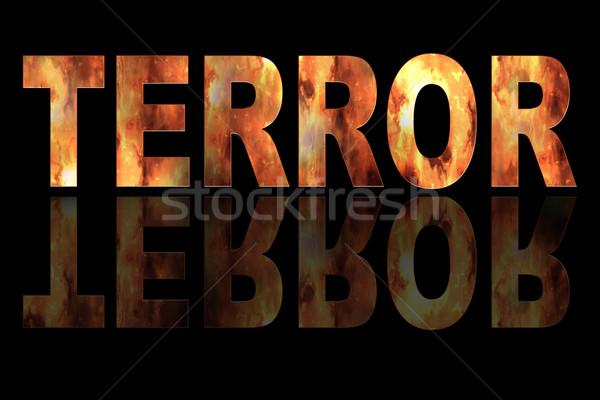 Illustratie terreur brand zwarte tekst textuur Stockfoto © w20er