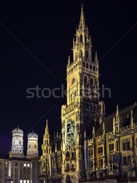 Night scene Munich Town Hall Stock photo © w20er