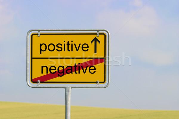 Segno negative positivo giallo città testo Foto d'archivio © w20er