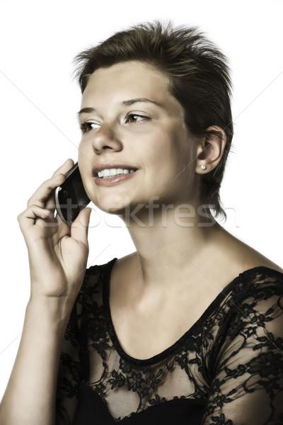 Lány mobiltelefon estélyi ruha izolált fehér üzlet Stock fotó © w20er
