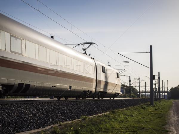 Jazdy pociągu kolej żelazna niebo charakter krajobraz Zdjęcia stock © w20er