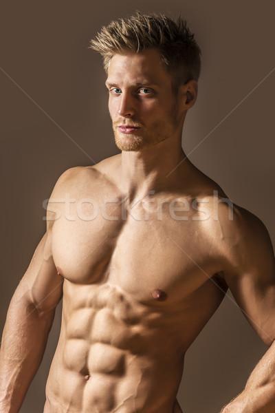 Kút képzett sport férfi portré szőke nő Stock fotó © w20er