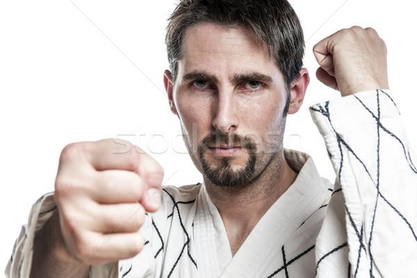 Vechtsporten meester oefening witte strijd jurk Stockfoto © w20er