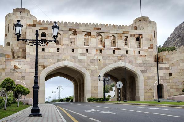 город ворот Оман облачный день дома Сток-фото © w20er