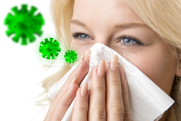 Ill woman with tissue is sneezing virus Stock photo © w20er