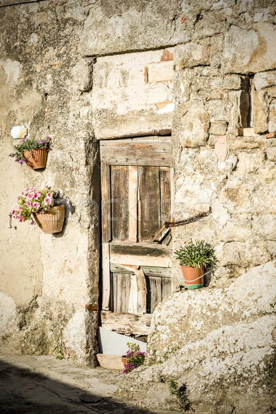 Ajtó fal Toszkána kép régi ház Olaszország Stock fotó © w20er