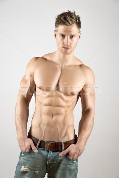 Kút képzett test szőke fiatal sportos Stock fotó © w20er