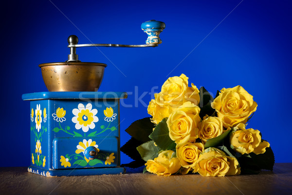 Blue coffee grinder and roses Stock photo © w20er