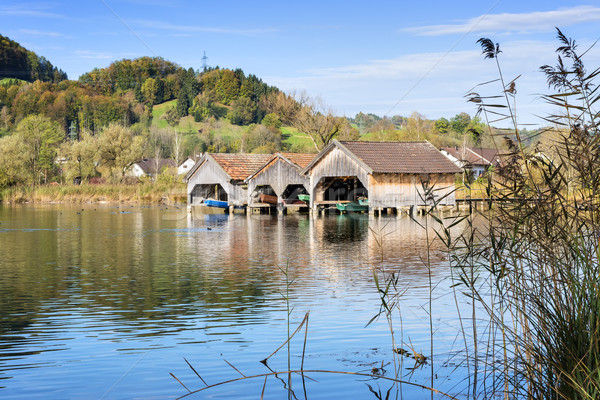 boathouses and reed at lake Kochelsee Stock photo © w20er