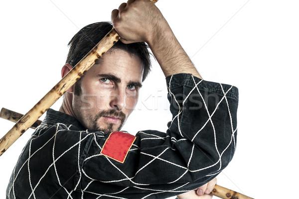 Stockfoto: Vechtsporten · meester · bamboe · zwarte · jurk