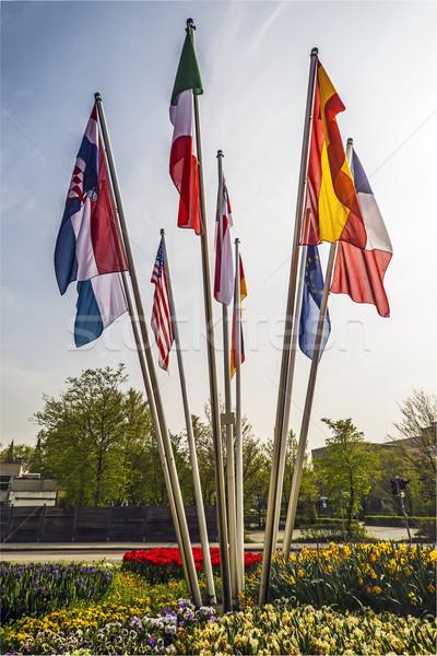 Vlaggen landen wereld verschillend hemel reizen Stockfoto © w20er