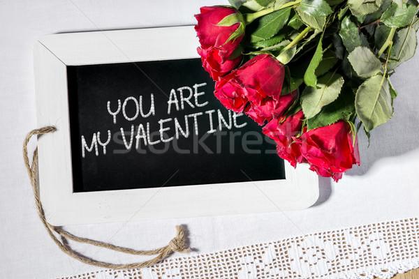 slate blackboard valentine Stock photo © w20er