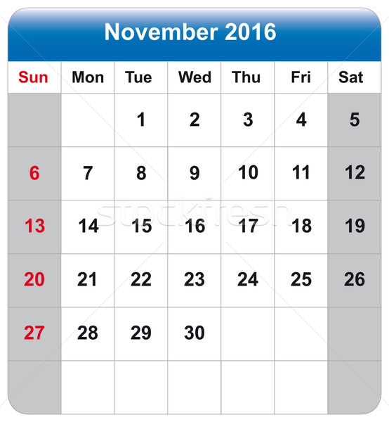 Calendar sheet November 2016 Stock photo © w20er