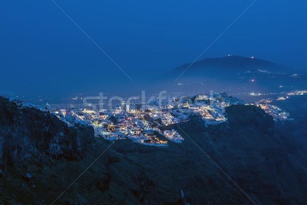 Thira on Santorini at blue night Stock photo © w20er