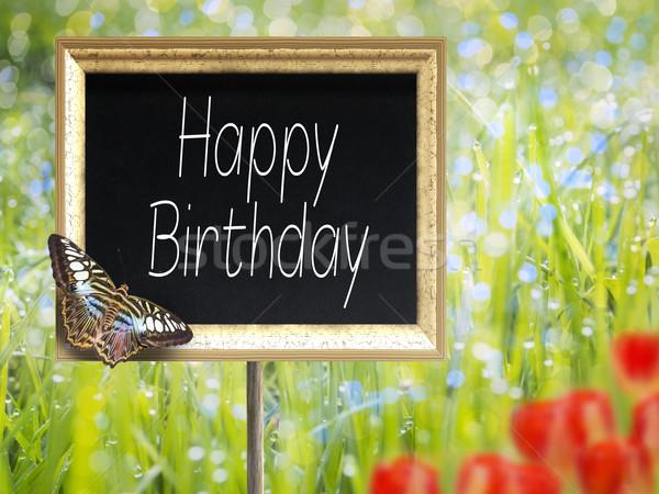 Schoolbord tekst gelukkige verjaardag weide natuur Stockfoto © w20er