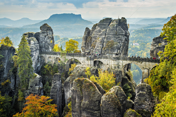 Bridge named Bastei in Saxon Switzerland Stock photo © w20er
