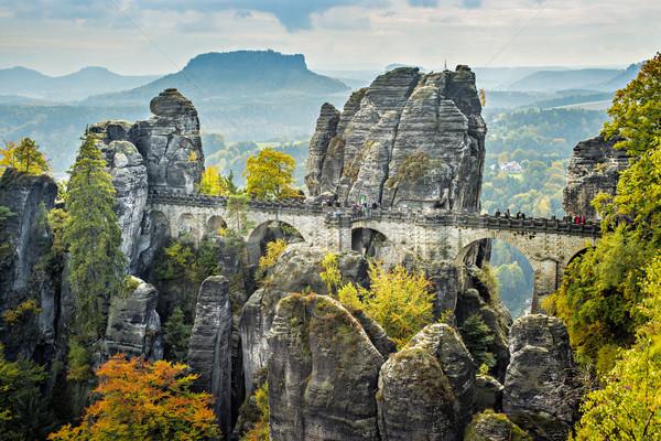 Híd Svájc Németország napos idő ősz színes Stock fotó © w20er