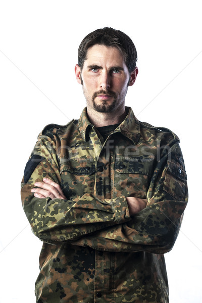 Man with camouflage Stock photo © w20er