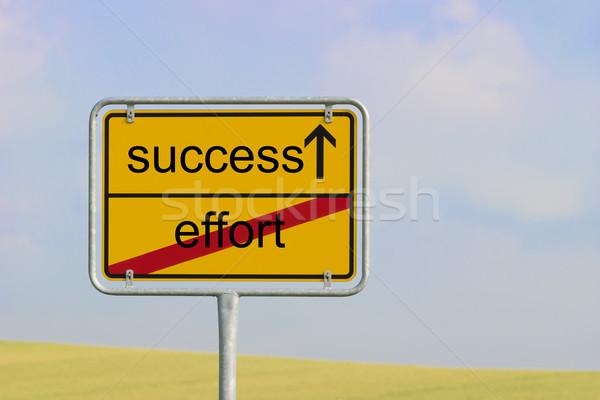 знак усилие успех желтый города текста Сток-фото © w20er