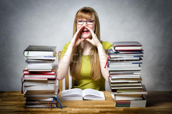 happy schoolgirl woman with books Stock photo © w20er