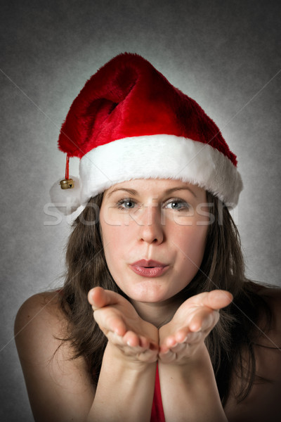 肖像 キス サンタクロース 笑みを浮かべて 女性 ストックフォト © w20er