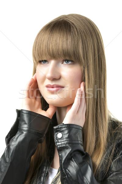 Rubio mujer negro chaqueta de cuero retrato mujer bonita Foto stock © w20er