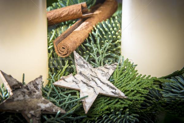 Detay atış advent çelenk star yeşil Stok fotoğraf © w20er